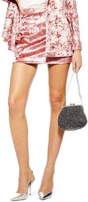 Topshop Bonded Velvet Miniskirt
