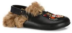 Gucci Angry Cat Fur & Leather Grip-Tape Slingback Clogs
