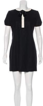 Saint Laurent Leather-Trimmed Shift Dress