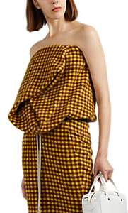 Rick Owens Women's Checked Strapless Bustier Top - Yellow Brown