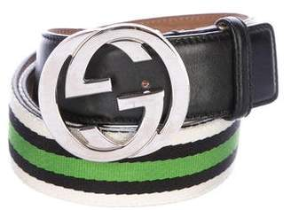 Gucci Leather-Trimmed Web Interlocking GG Belt