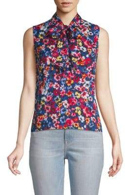 Love Moschino Floral Tie Neck Blouse