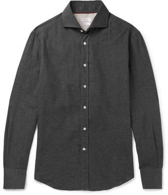 Brunello Cucinelli Slim-Fit Cutaway-Collar Cotton-Flannel Shirt