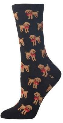 Hot Sox Poodle Bow Crew Socks