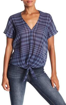 Lucky Brand Plaid Tie Top