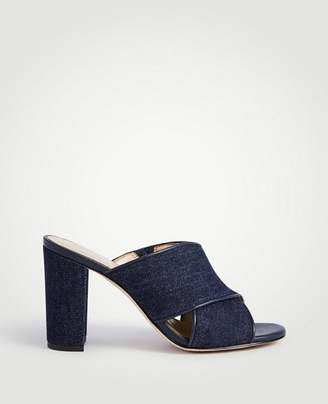 Ann Taylor Jeanette Denim Heeled Mule Sandals