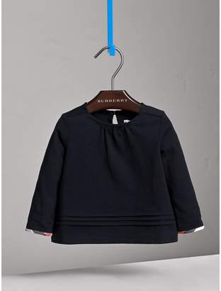 Burberry Pleat and Check Detail Cotton Top , Size: 3Y, Blue