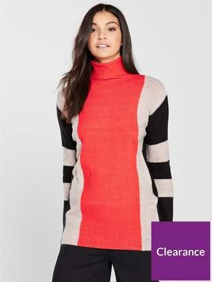 Wallis Stripe Compact Knitted Jumper - Orange
