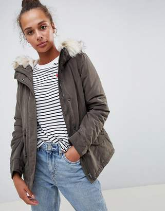 Only Luca Short Parka Coat with Faux Fur Hood