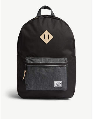 Herschel Black Denim Geometric Heritage Offset Backpack