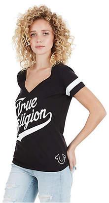 True Religion Tr Athletic Deep V Womens Tee