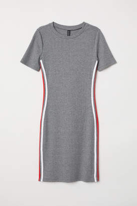 H&M Short-sleeved Jersey Dress - Gray
