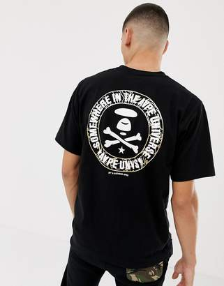 A Bathing Ape AAPE BY AAPE By T-Shirt With Camo Foil Back Logo In Black