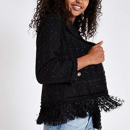 Womens Black boucle fringe trim jacket