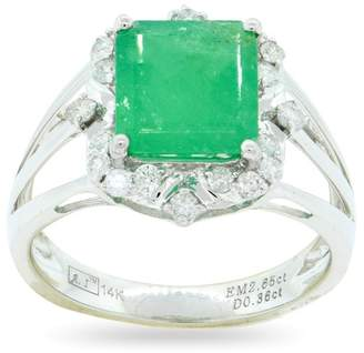 ai 14K White Gold with 2.65ct Emerald and 0.36ctw Diamond Ring Size 7.0