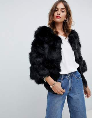 Jayley Luxurious Chevron Stripe Fur Jacket
