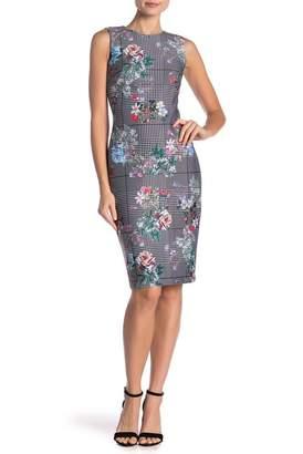 Modern American Designer Plaid Floral Sheath Dress