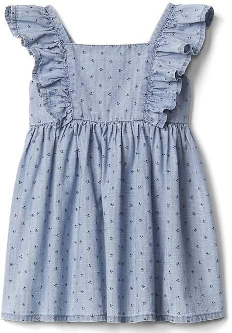 Floral chambray flutter dress