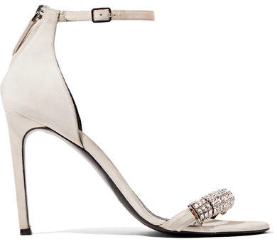 CALVIN KLEIN 205W39NYC - Camelle Crystal-embellished Suede Sandals - Off-white