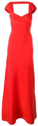 Herve Leger sweetheart neck long dress