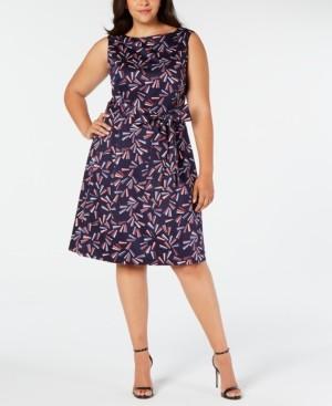 Anne Klein Plus Size Marina Belted Boat-Neck Dress