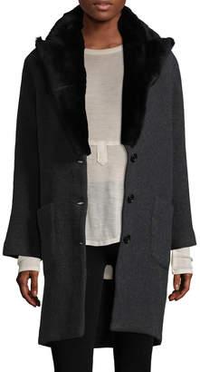 Zadig & Voltaire Women's Mikado Rabbit Fur-Trimmed Wool Coat