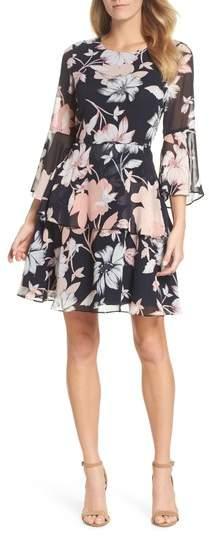 Floral Print Tiered Chiffon Dress