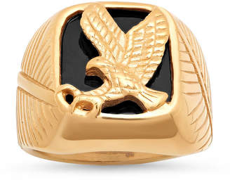 FINE JEWELRY Mens 18K Gold over Stainless Steel Eagle Ring