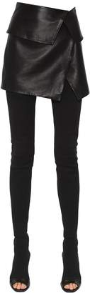 Balmain Asymmetric Nappa Leather Mini Skirt