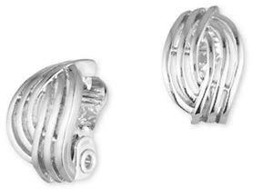 Anne Klein Silverplated Open Weave Button Earrings