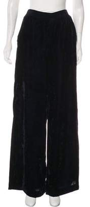 Nili Lotan High-Rise Wide-Leg Velour Pants