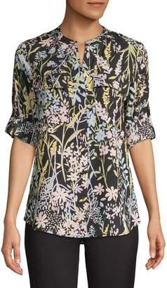 Calvin Klein Floral-Print Button-Front Blouse