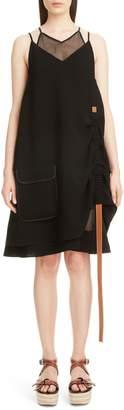 Loewe Leather Strap Layered Trapeze Dress