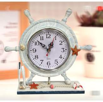 Creative Motion Desk-top Clock with Steering Wheel Design;Product Size: 9 x 8.25 x2.25. Polyresin construct. Desk-top decor for any office, room, shop, dorm. Gift, Event. Nautical theme