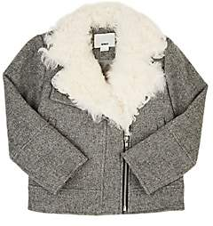Moto DINUI Shearling-Trimmed Wool-Blend Jacket-Gray