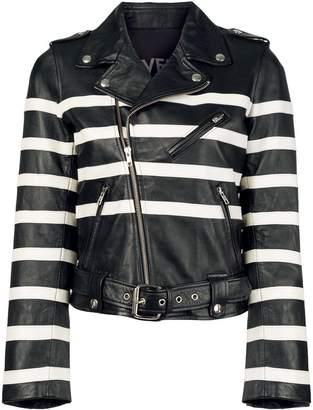 Each X Other striped print biker jacket