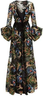 Diane von Furstenberg Embroidered Wrap Gown