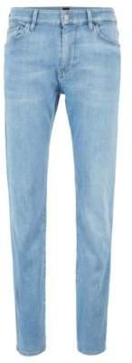 BOSS Regular-fit jeans in bright-blue Italian stretch denim