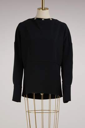 Victoria Beckham Button-Collar Long-Sleeved Top
