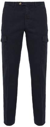 Thom Sweeney - Patch Pocket Stretch Linen Blend Trousers - Mens - Navy