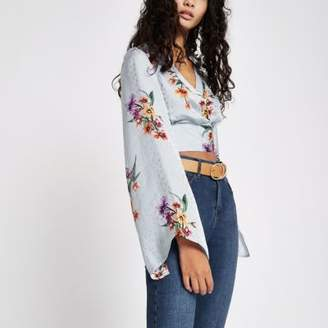 River Island Womens Grey floral wrap kimono sleeve crop top