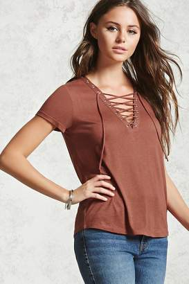 Forever 21 Knit Lace-Up Top