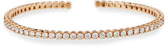 Memoire 18k Rose Gold Flexible Open Diamond Bangle, Size 53