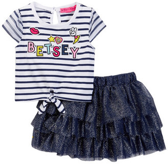 Betsey Johnson Striped Tie Front Tee & Tulle Tutu Skirt Set (Little Girls) $44 thestylecure.com