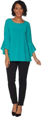 Women With Control Women with Control Regular Flounce Sleeve Top with Slim Ankle Pant Set