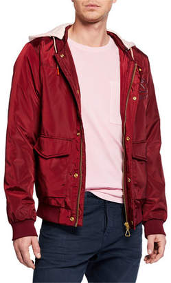 Scotch & Soda Men's Ams Blauw Bomber Jacket with Detachable Hood