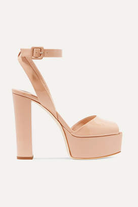 Giuseppe Zanotti Betty Patent-leather Platform Sandals - Neutral