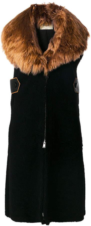 Fendi long sleeveless coat