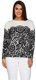Bob Mackie Bob Mackie's Long Sleeve Printed Lace PulloverSweater