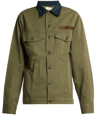 Myar - Contrast Collar Cotton Blend Military Jacket - Womens - Dark Green